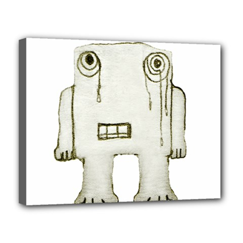 Sad Monster Baby Canvas 14  X 11  (framed) by dflcprints