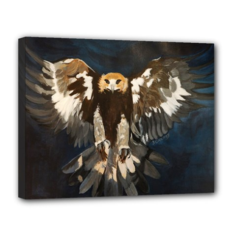 Golden Eagle Canvas 14  x 11  (Framed) by JUNEIPER07