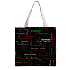 Merry Christmas Typography Art Full All Over Print Grocery Tote Bag by StuffOrSomething