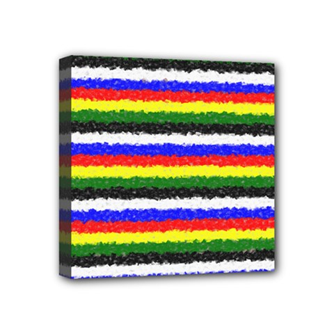 Horizontal Basic Colors Curly Stripes Mini Canvas 4  X 4  (framed) by BestCustomGiftsForYou