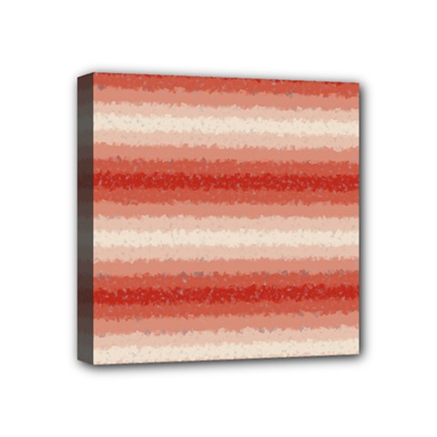 Horizontal Red Curly Stripes Mini Canvas 4  X 4  (framed) by BestCustomGiftsForYou