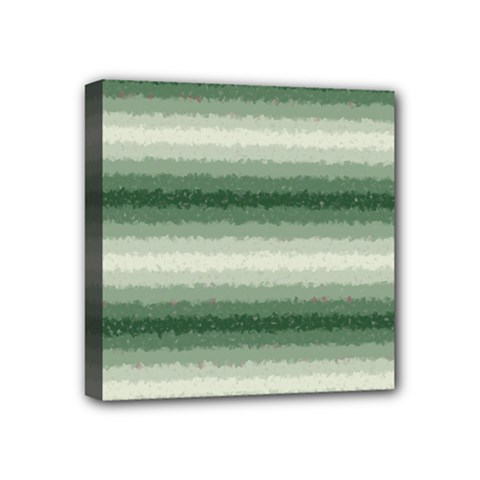 Horizontal Dark Green Curly Stripes Mini Canvas 4  X 4  (framed) by BestCustomGiftsForYou