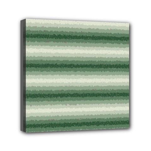 Horizontal Dark Green Curly Stripes Mini Canvas 6  X 6  (framed) by BestCustomGiftsForYou