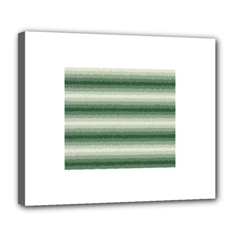 Horizontal Dark Green Curly Stripes Deluxe Canvas 24  X 20  (framed) by BestCustomGiftsForYou