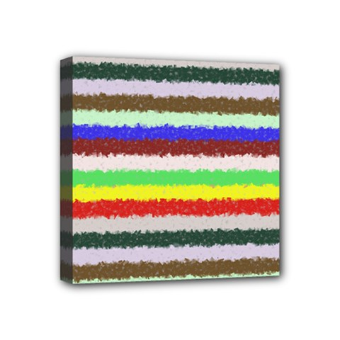Horizontal Vivid Colors Curly Stripes   2 Mini Canvas 4  X 4  (framed) by BestCustomGiftsForYou