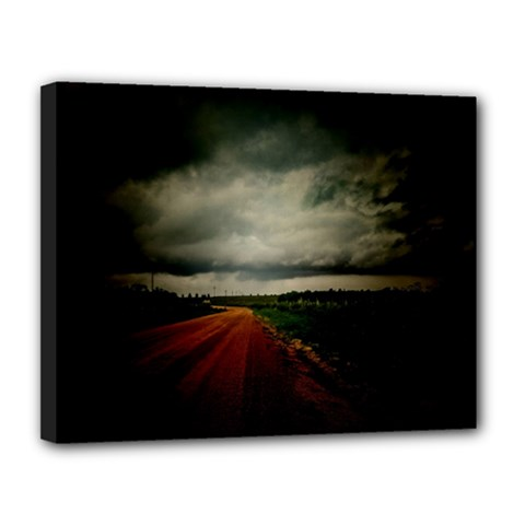 Dark Empty Road Canvas 14  x 11  (Framed) by dflcprints