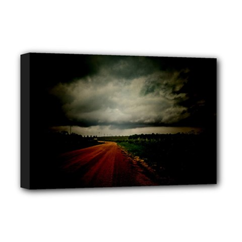 Dark Empty Road Deluxe Canvas 18  x 12  (Framed) by dflcprints