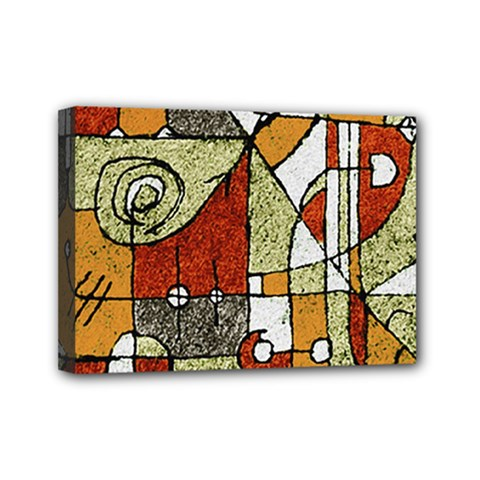 Multicolored Abstract Tribal Print Mini Canvas 7  X 5  (framed) by dflcprints