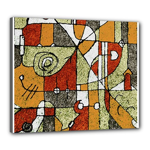 Multicolored Abstract Tribal Print Canvas 24  X 20  (framed) by dflcprints