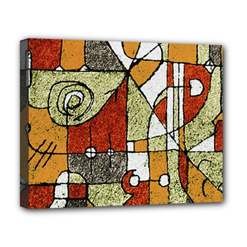 Multicolored Abstract Tribal Print Deluxe Canvas 20  X 16  (framed) by dflcprints