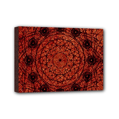 Grunge Style Geometric Mandala Mini Canvas 7  X 5  (framed) by dflcprints