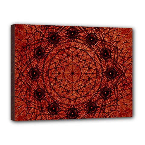 Grunge Style Geometric Mandala Canvas 16  X 12  (framed) by dflcprints