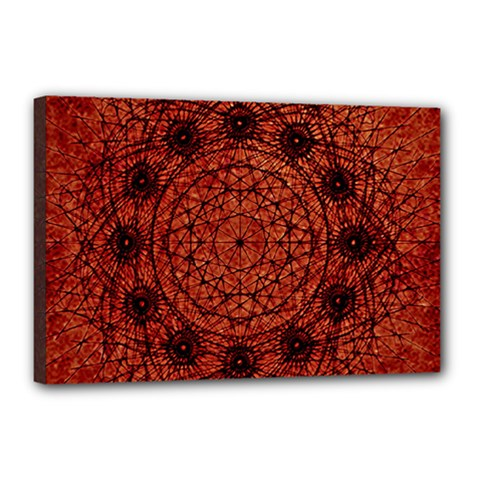Grunge Style Geometric Mandala Canvas 18  X 12  (framed) by dflcprints