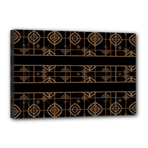 Dark Geometric Abstract Pattern Canvas 18  X 12  (framed) by dflcprints