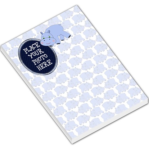 Hippo Blue Large By Chere s Creations   Large Memo Pads   V2upairtki2e   Www Artscow Com