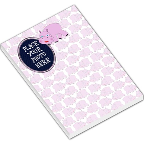 Hippo Pink Large By Chere s Creations   Large Memo Pads   Wbw79dv9gf7v   Www Artscow Com