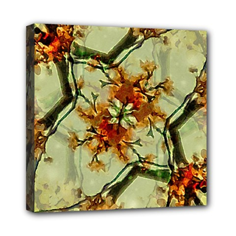 Floral Motif Print Pattern Collage Mini Canvas 8  X 8  (framed) by dflcprints