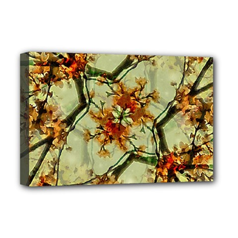 Floral Motif Print Pattern Collage Deluxe Canvas 18  X 12  (framed) by dflcprints