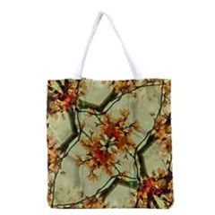 Floral Motif Print Pattern Collage Grocery Tote Bag by dflcprints