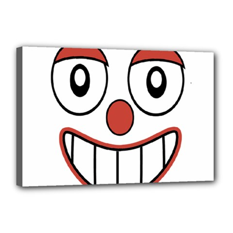 Happy Clown Cartoon Drawing Canvas 18  X 12  (framed) by dflcprints