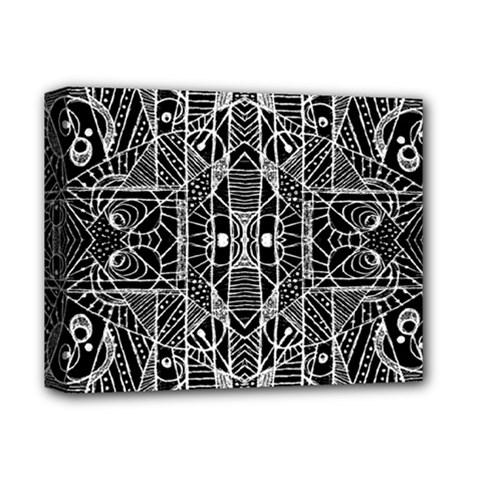 Black And White Tribal Geometric Pattern Print Deluxe Canvas 14  X 11  (framed) by dflcprints