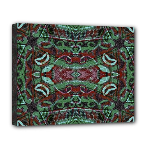 Tribal Ornament Pattern In Red And Green Colors Deluxe Canvas 20  X 16  (framed) by dflcprints