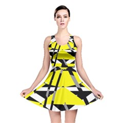 Yellow, black and white pieces abstract design Reversible Skater Dress by LalyLauraFLM