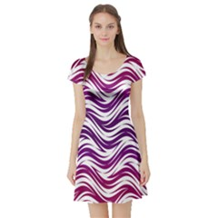Purple Waves Pattern Short Sleeved Skater Dress by LalyLauraFLM