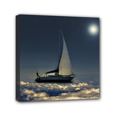 Navigating Trough Clouds Dreamy Collage Photography Mini Canvas 6  X 6  (framed) by dflcprints