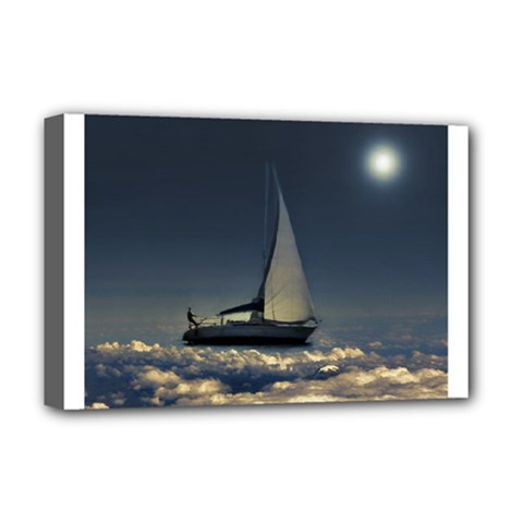 Navigating Trough Clouds Dreamy Collage Photography Deluxe Canvas 18  X 12  (framed) by dflcprints