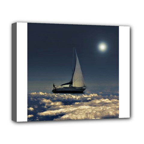 Navigating Trough Clouds Dreamy Collage Photography Deluxe Canvas 20  X 16  (framed) by dflcprints