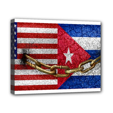 United States And Cuba Flags United Design Canvas 10  X 8  (framed) by dflcprints