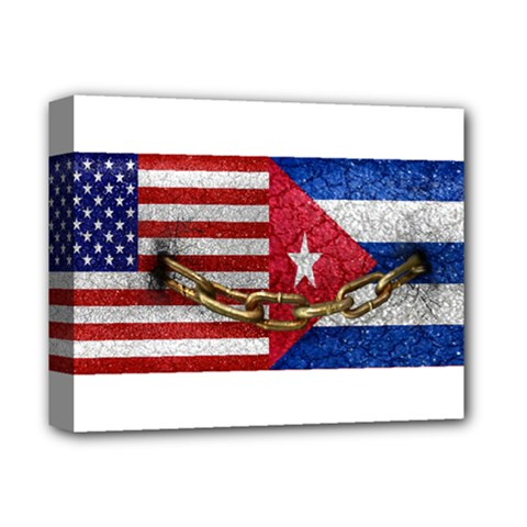 United States And Cuba Flags United Design Deluxe Canvas 14  X 11  (framed) by dflcprints