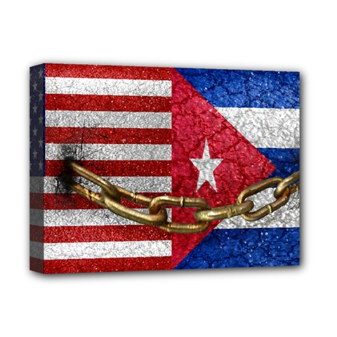 United States And Cuba Flags United Design Deluxe Canvas 16  X 12  (framed)  by dflcprints