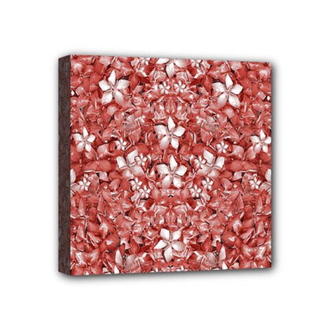 Flowers Pattern Collage In Coral An White Colors Mini Canvas 4  X 4  (framed) by dflcprints