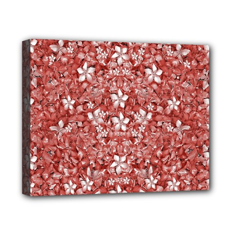 Flowers Pattern Collage In Coral An White Colors Canvas 10  X 8  (framed) by dflcprints