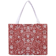 Flowers Pattern Collage in Coral an White Colors Tiny Tote Bag by dflcprints