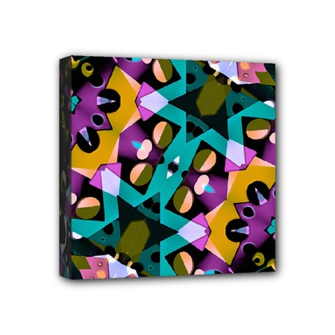 Digital Futuristic Geometric Pattern Mini Canvas 4  X 4  (framed) by dflcprints