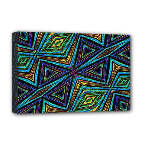 Tribal Style Colorful Geometric Pattern Deluxe Canvas 18  X 12  (framed) by dflcprints