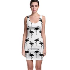 Flamingo Pattern Black On White Bodycon Dress by CrypticFragmentsColors