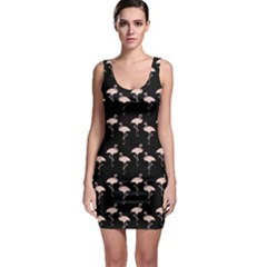 Pink Flamingo Pattern On Black  Bodycon Dress by CrypticFragmentsColors