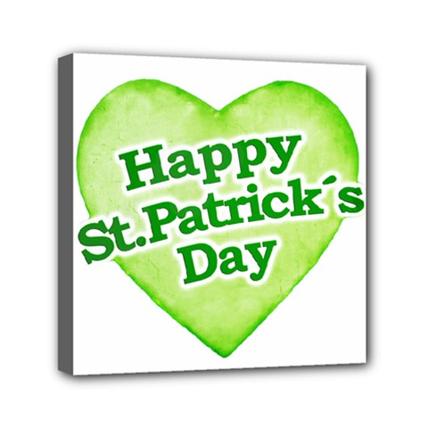 Happy St Patricks Day Design Mini Canvas 6  X 6  (framed) by dflcprints