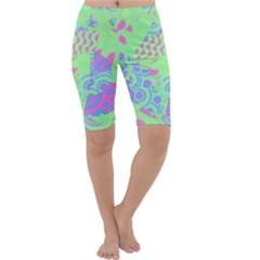 Tropical Neon Green Purple Blue Cropped Leggings