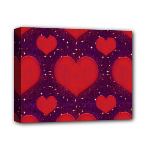Galaxy Hearts Grunge Style Pattern Deluxe Canvas 14  X 11  (framed) by dflcprints