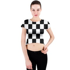 Checkered Flag Race Winner Mosaic Tile Pattern Crew Neck Crop Top by CrypticFragmentsColors
