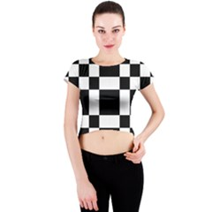 Checkered Mosaic Tile Pattern Black White  Crew Neck Crop Top by CrypticFragmentsColors
