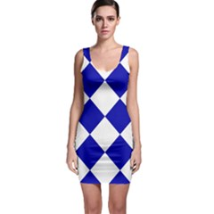 Harlequin Diamond Pattern Cobalt Blue White Bodycon Dress by CrypticFragmentsColors