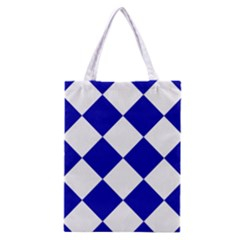 Harlequin Diamond Pattern Cobalt Blue White Classic Tote Bag by CrypticFragmentsColors