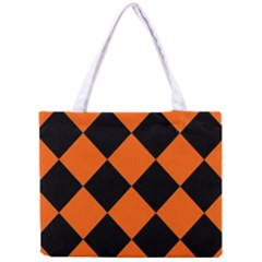 Harlequin Diamond Orange Black Tiny Tote Bag by CrypticFragmentsColors