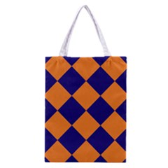 Harlequin Diamond Navy Blue Orange Classic Tote Bag by CrypticFragmentsColors